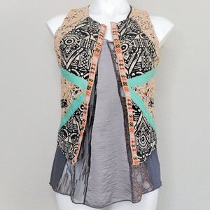 gimmicks by BKE   Bohemian Embroidery Crochet Vest